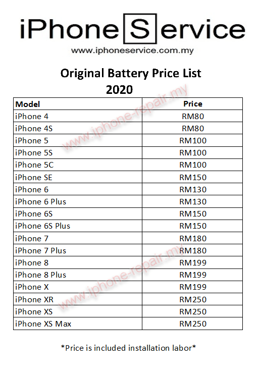 iPhone Battery Replacementy Price list 2020