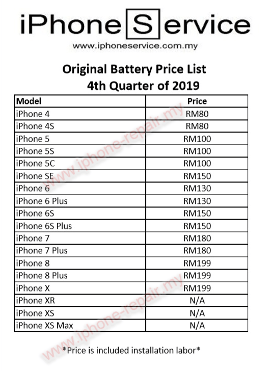 iPhone Battery Replacement Cost Malaysia