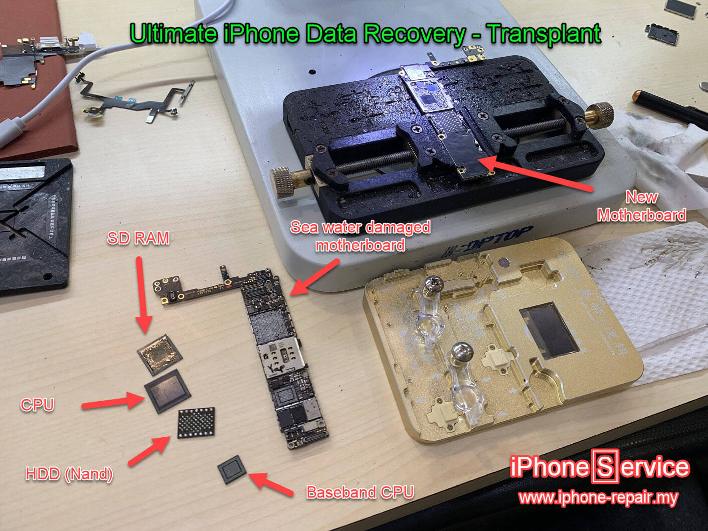 Ultimate iPhone Data Recovery - Transplant motherboard
