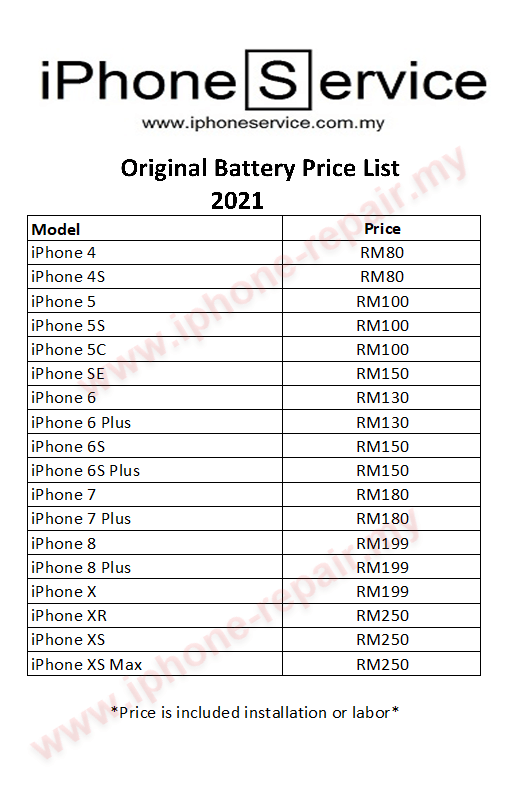 iPhone Battery Replacement Price List 2021