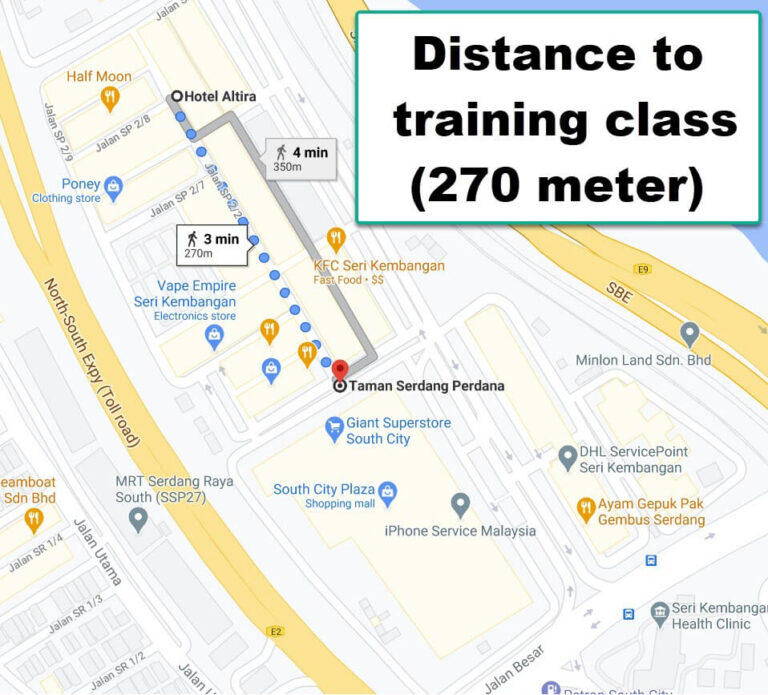 Distance between the hotels to iPhone Training Class